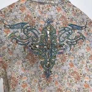 Roar Embellished Floral Print Button Down XL
